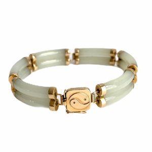 Vintage 14k Gold Jade Bracelet Link Yin Yang Clasp